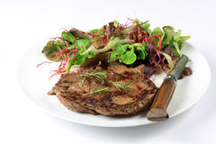 Grilled beef steak. On a white background Royalty Free Stock Photography