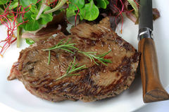 Grilled beef steak. On a white background Stock Photography
