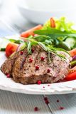 Grilled Beef Steak With Salad Stock Photo