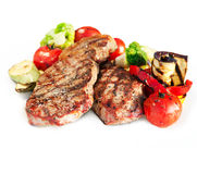 Free Grilled Beef Steak With Vegetables Royalty Free Stock Photography - 25070877