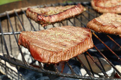 Grilled beef steaks cooking on barbecue grill Royalty Free Stock Photos