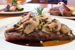 Grilled Beef Steaks with Mushrooms Royalty Free Stock Images