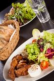 Grilled beef stripes fresh salad and goat cheese Royalty Free Stock Photos