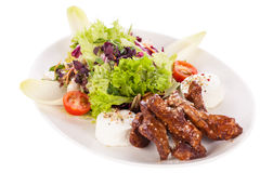 Grilled beef stripes fresh salad and goat cheese Stock Photography