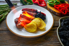 Grilled beef tenderloin with french fries Stock Photos