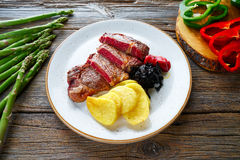 Grilled beef tenderloin with french fries Stock Image