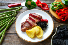 Grilled beef tenderloin with french fries Stock Photography