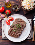 Grilled beef tenderloin meat with cole slaw salad Stock Photo