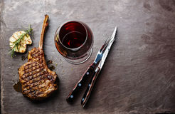 Grilled beef Veal rib and wine Royalty Free Stock Photos