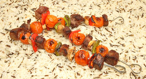 Grilled Beef And Vegetable Kebabs Stock Image