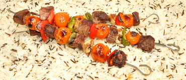 Grilled Beef And Vegetable Kebabs Stock Photos