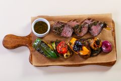 Grilled beef and vegetables Stock Images