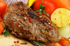 Grilled Beef and Vegetables Stock Image