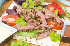 Grilled Beef Wraps Stock Photography