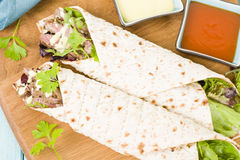 Grilled Beef Wraps Stock Photo