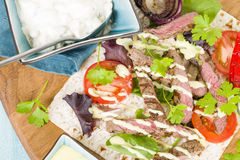 Grilled Beef Wraps Stock Images