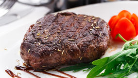 Grilled beefsteak on a plate Stock Photo