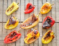 Grilled Bell Peppers On The Rack Stock Images