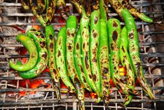Grilled big green chili for ingredient for another Stock Images