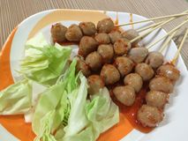 Grilled big meatball fast food  Thailand. Stock Images