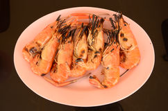 Grilled big prawns on the plate Royalty Free Stock Photo