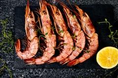 Grilled Big Tiger Shrimps Prawns On Black Slate Plate Stock Photography