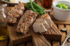 Grilled braided pork with green beans Royalty Free Stock Photo