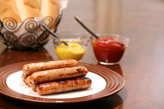 Grilled bratwurst ready to serve Stock Image