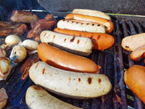 Grilled bratwurst and sausages Stock Photography