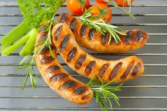 Grilled bratwursts Royalty Free Stock Photos