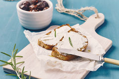 Grilled bread with spreadable cheese Stock Photo