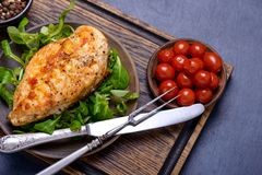 Grilled breas chicken with corn salad. Concept healthy food Stock Images