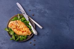 Grilled breas chicken with corn salad on plate. Top view with copy space Stock Photography