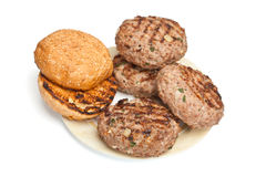 Grilled Buns and Beef Patties Stock Images