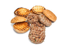 Grilled Buns and Beef Patties Royalty Free Stock Image
