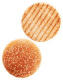 Grilled burger bun isolated on white background. Royalty Free Stock Image