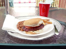 Grilled burger meal. Photo of a burger sandwich with side dishes displayed on a outside patio table stock images