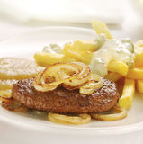 Grilled burger served with french fries and apple sauce Stock Photo