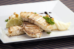 Grilled butterfish  w potato puree Royalty Free Stock Photo