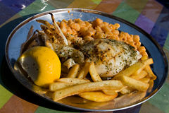 Grilled Calamari. With french fries and macaroni Royalty Free Stock Photo