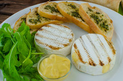 Grilled camembert with baguette Royalty Free Stock Photography
