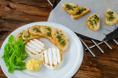Grilled camembert with baguette Stock Image