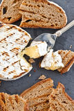 Grilled camembert with bread Stock Photography