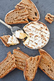 Grilled camembert with bread Royalty Free Stock Photo