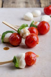 Grilled caprese kebabs Stock Photos