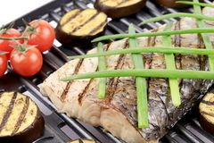 Grilled carp fillet on grill with egg plant. Royalty Free Stock Photos