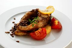 Grilled carp fillet with organic vegetable Royalty Free Stock Image