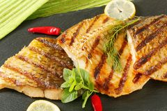 Grilled carp fillets Stock Photo