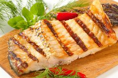 Grilled carp fillets Royalty Free Stock Images