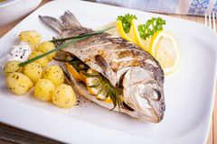 Grilled carp fish with rosemary potatoes and lemon Royalty Free Stock Photos